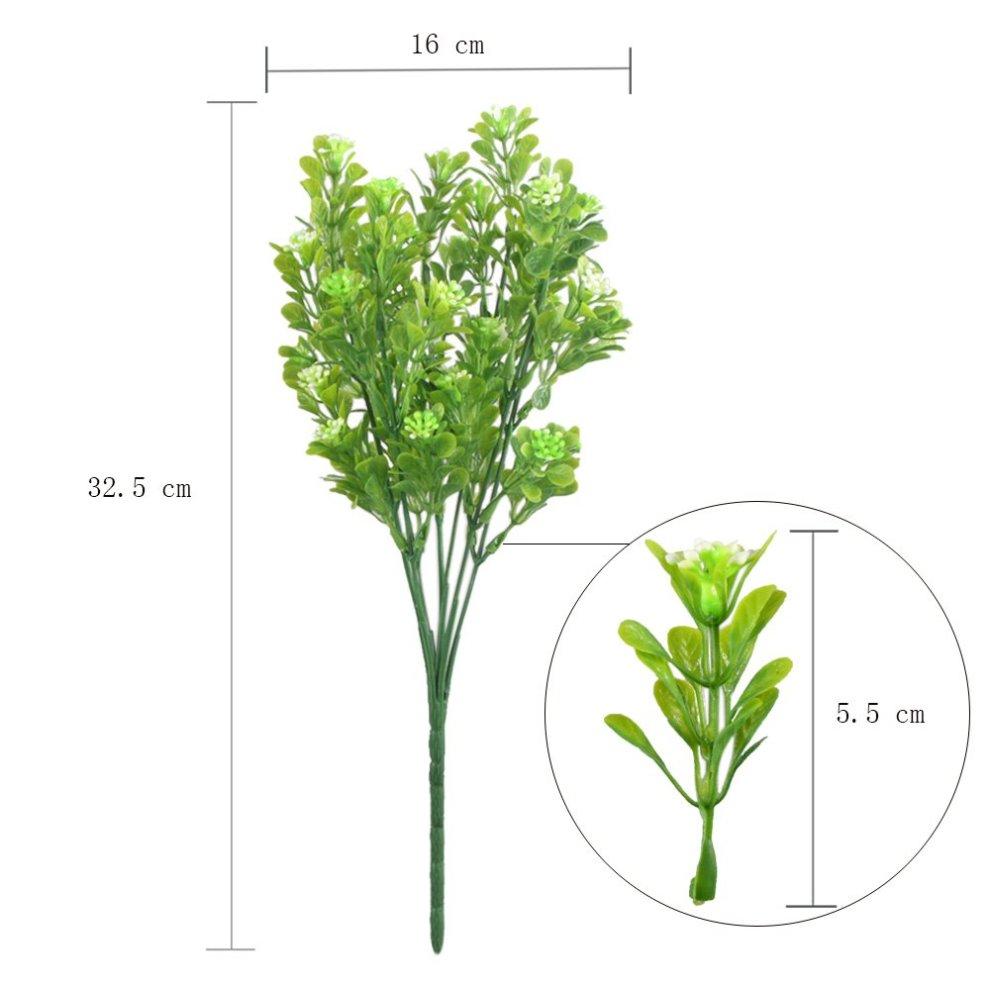 MIHOUNION 4 Bundles Artificial Plastic Plants Aglaia Odorata Lour Evergreen  Shrubs Outdoor UV Stable Subtropical Green Bushes Home Garden Tabletop