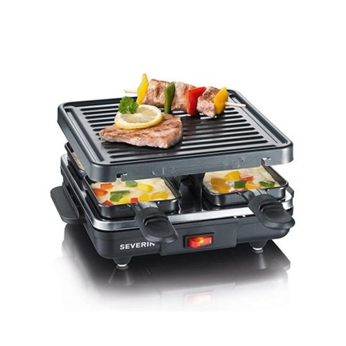 Severin Raclette Indoor Tabletop BBQ Grill with 4 Non-Stick Coated Mini Pans