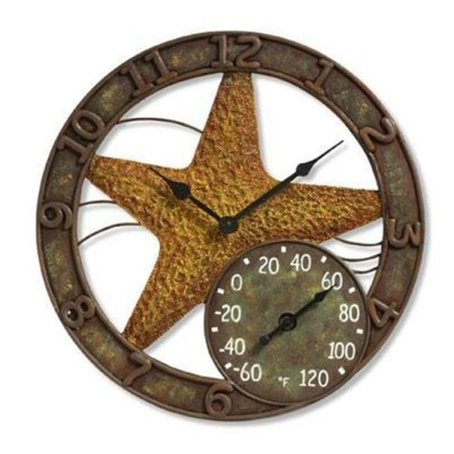 Taylor 98203 14 in. Starfish Clock With Thermometer