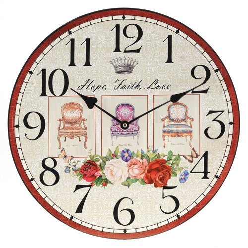 Obique Home Decoration MDF Hope, Faith, Love Scene 34cm Wall Clock