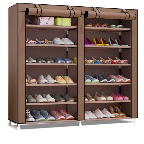 UDEAR 7 Tier Shoe Rack for 36 Pairs of Shoes Storage Rack Organizer Deep Brown 120 * 30 * 110 CM