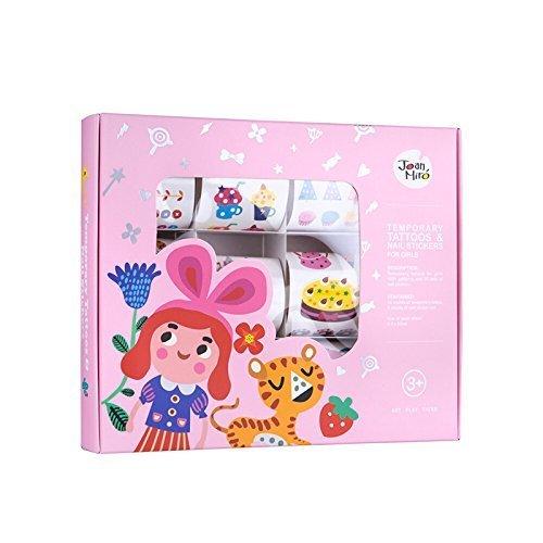 Joan Miro Kids Temporary Tattoos And Nail Stickers 12 SheetsChristmas gift (Pink)