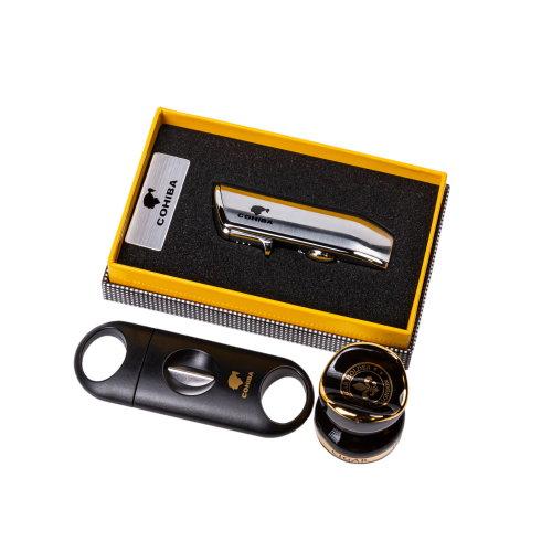 Cigar Gift Set: Cohiba Lighter, V-Cut Cigar Cutter and Cigar Stand