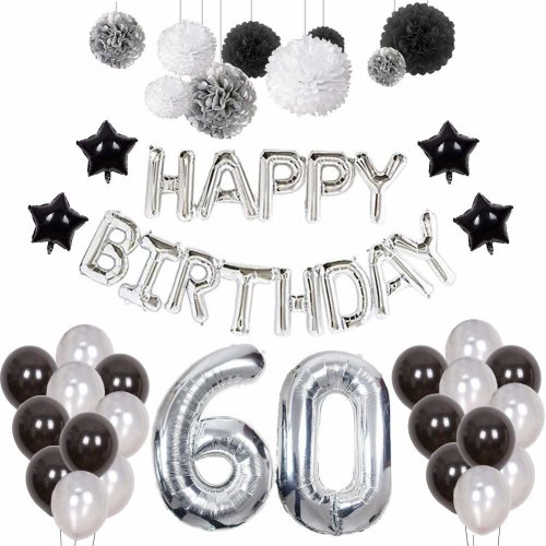 Weimi 60th Birthday Decorations For Man 20pcs Latex Balloons 9pcs Tissue Paper Pom Poms