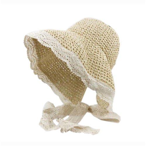 Womens Foldable Straw Hat Elegant Lace Edge Tied Visor for Girls Summer, Beige