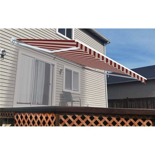 Aleko AW10X8MSTRRE19-UNB 10 x 8 ft. Retractable Outdoor Deck Sunshade Patio Awning with Multi Stripes, Red