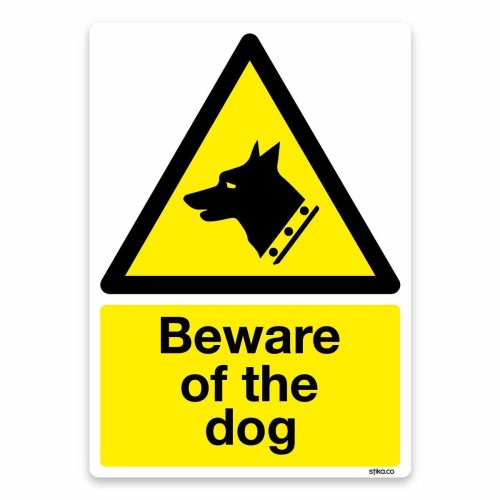 Beware of the dog Sign, Self-adhesive Vinyl Sticker, Warning Safety Door Signs (A6-148 x 105mm)