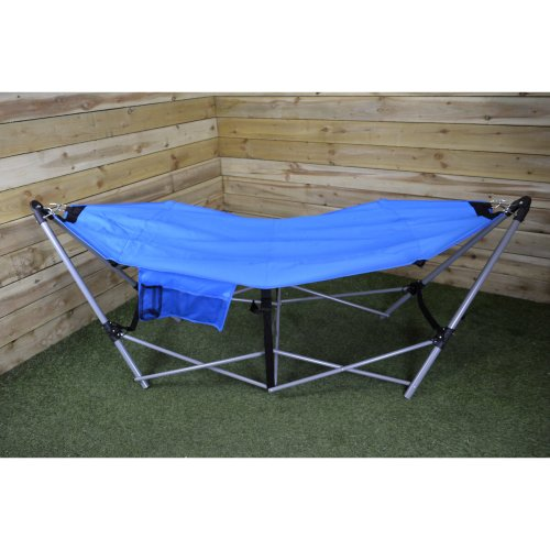 Blue Folding Garden / Camping Hammock Bed with Carry Case