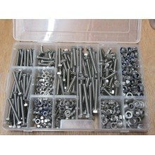 M6 & M8 Nuts and bolts assortment kit box hex nyloc nuts and washers stainless