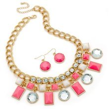 Pink and Gold Statement Necklace Set