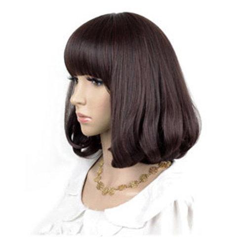 High Quality Fashion Sweet Wig Short Hair Natural Bob Dark Brown+Wig Cap+Comb