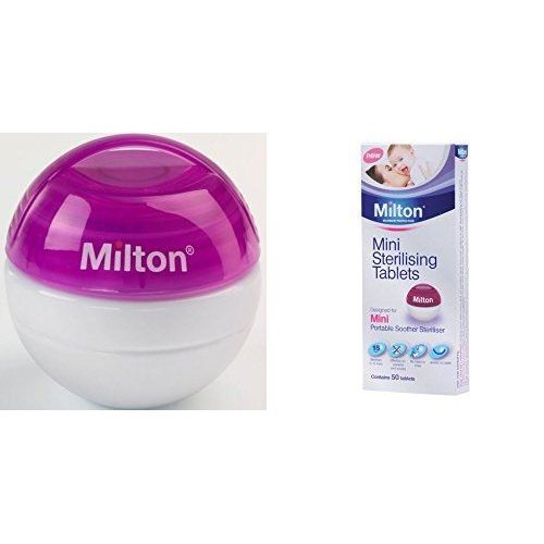 Milton Mini Portable Soother Steriliser Purple & Mini Sterilising Tablets (contains 50 Tablets)