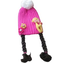 Lovely Baby Girl Knitted Hat Kids Cap with Braids Pink Deer