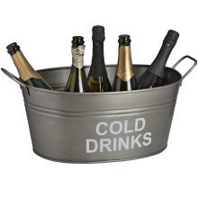 """""""cold Drinks"""" Bucket In Antique Pewter -  cold drinks bucket antique pewter"""