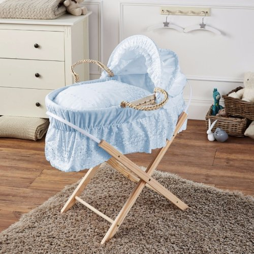 Brand New-Broderie Anglaise Moses Basket With Mattress Covers & Folding Stand Bl