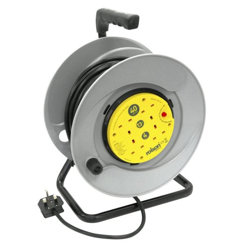 Rolson 4 Plug Socket 40M Mains Extension Over Heat Protection Cable Reel
