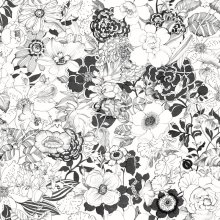 HD non-woven wallpaper flowers black and white