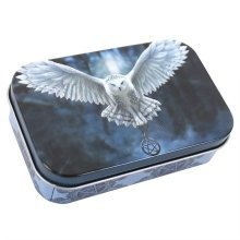 Anne Stokes Small Metal Tin Awake Your Magic White Owl Storage Trinkets Pills Tobacco Gift