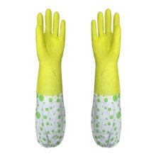 2 Pairs Rubber Cleaning Gloves with Lining Long Dishwashing Gloves, Yellow