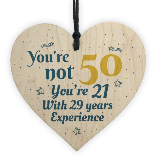 RED OCEAN 50th Birthday Gift Wooden Heart 50 For Dad Mum Sister Friend Funny Sign Keepsake On OnBuy