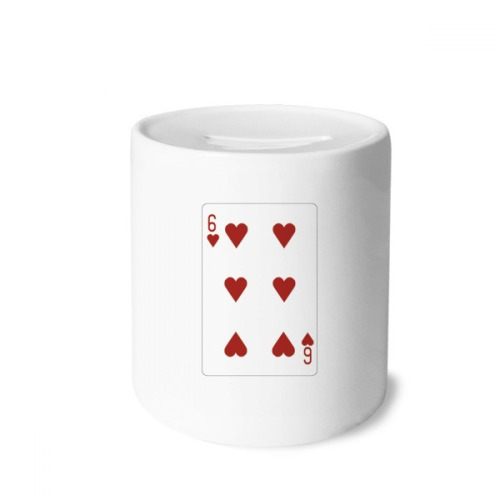 Heart 6 Playing Cards Pattern Money Box Saving Banks Ceramic Coin Case Kids Adults