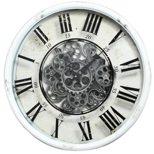 A&B Home 40054 20 x 5 in. Vintage Gear Wall Clock, White