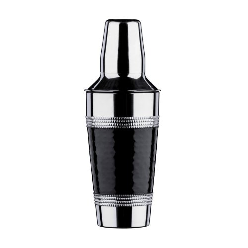 Cocktail Shaker with Hammered Black Band - Stainless Steel