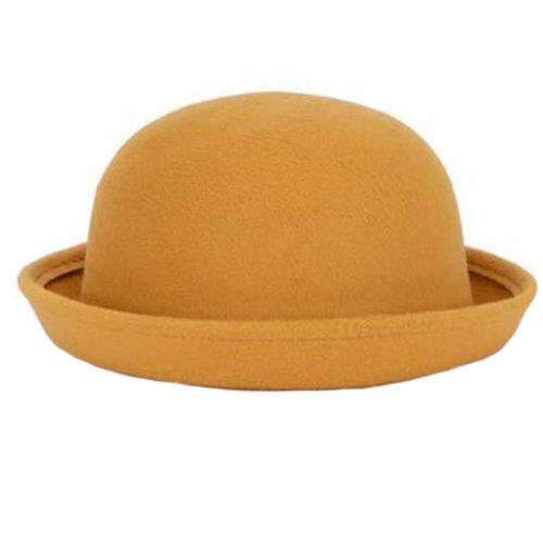 Ladies Elegant Hat Winter Cap Bowler Hat Fashion Gift for Women, Yellow