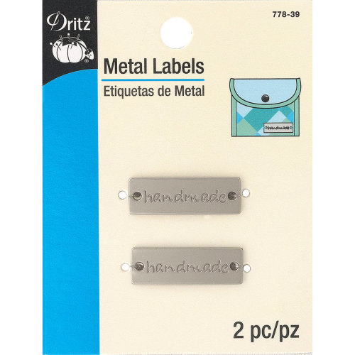 Dritz Metal Labels 2/Pkg-Matte Nickel-Handmade