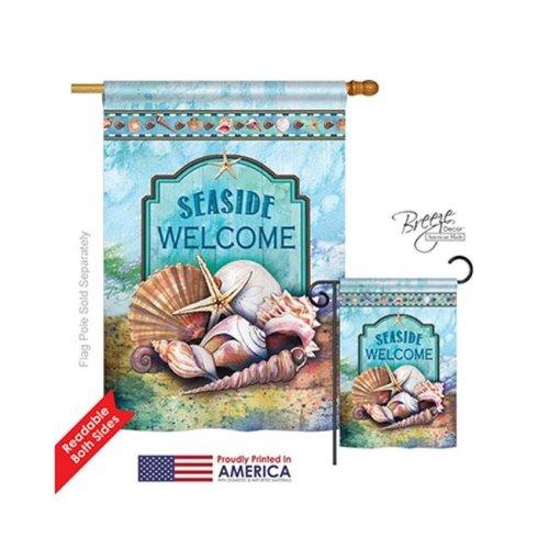 Beach & Nautical Seaside Shells 2-Sided Vertical Impression House Flag - 28 x 40 in.