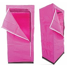 Ashley Single Wardrobe, Pink -  single wardrobe pink ashley black multi purpose zip hanging rail side pockets