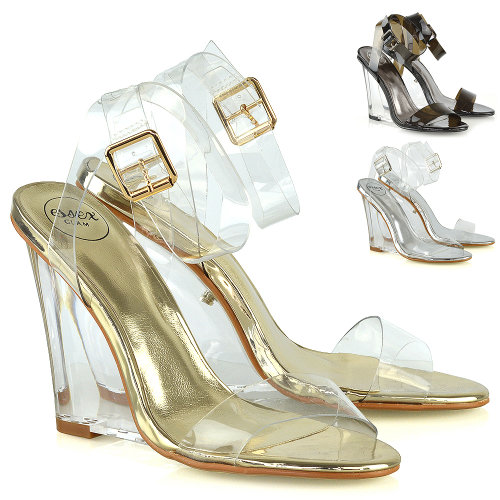 Womens High Heels Wedge Sandals Perspex Clear Strappy Dressy Party Shoes