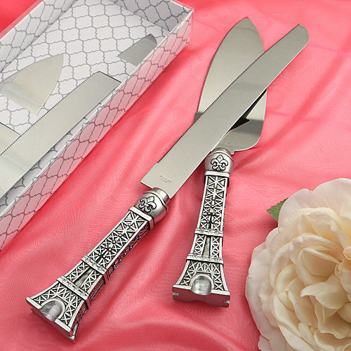 Paris Eiffel Tower Design Wedding Knife And Cake Serving Set