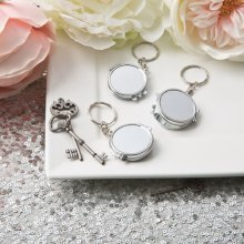 Perfectly plain collection silver metal compact mirror key chain