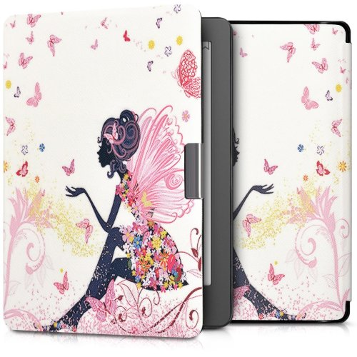 kwmobile Case for Kobo Aura Edition 2 - Book Style PU Leather Protective e-Reader Cover Folio Case - Multicolor Dark Pink White