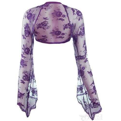 Ladies Violet Lace Bell Sleeve Bolero Size 6-30