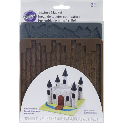 """Silicone Texture Mat 6""""X6""""-Flagstone & Wood"""