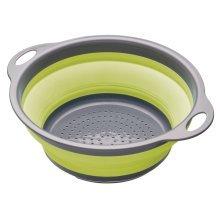 24cm Green Colourworks Collapsible Colander - Handles Kitchen Craft Grey -  collapsible colander colourworks 24cm handles green kitchen craft grey