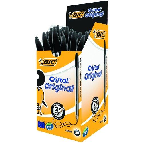 50 x BIC Cristal Original Ballpoint Pens Black
