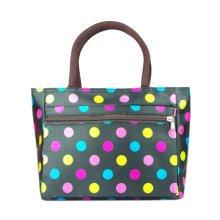 Ladies Fashionable Zipper Purse Handbag Colorful Dots Printed Tote Bag