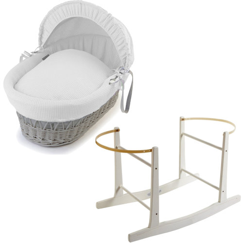 Grey Wicker White Waffle Moses Basket With White Rocking Stand