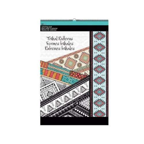 Kole Imports OT763-24 11 x 17 in. Tribal Patterns Large Coloring Pad - Pack of 24