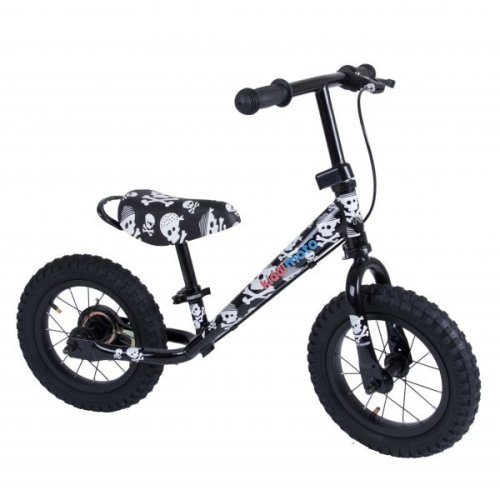 Kiddimoto Super Junior Max Metal Balance Bike - 18 Month to 5 Years - The Easiest Way To Teach Kids To Ride - Skullz