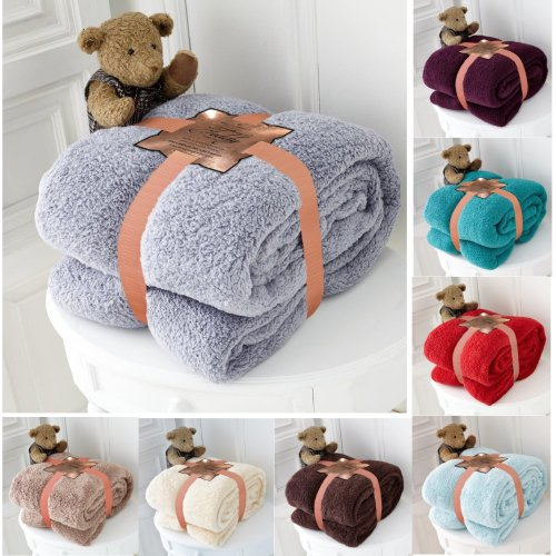 Teddy Bear Super Soft Cudly Blanket Sofa Throw Large Double Size 150 x 200cm