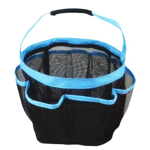 Outdoor Camping Quick Dry Mesh Shower Accessories Tote With Handle-Blue