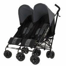 Obaby Twin Stroller Apollo - Black-grey (grey Hoods)