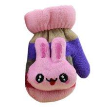 1 Pair Children's Winter Gloves Soft knitted&Warm Mittens (0-3 Years)Purple/Pink