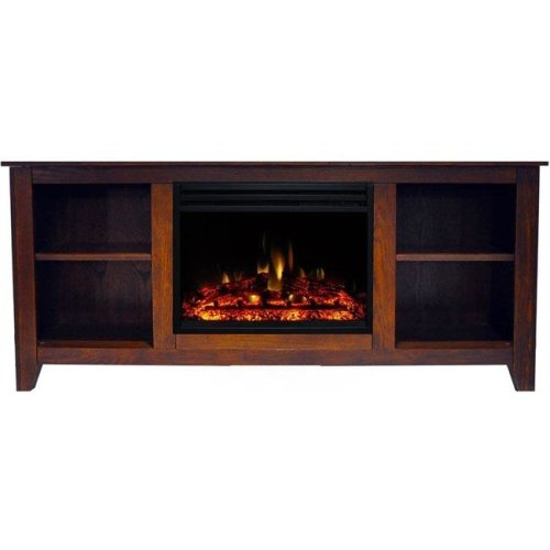 Cambridge CAM6226-1WALLG3 Santa Monica Electric Fireplace Heater with 63 in. Walnut TV Stand Enhanced Log Display, Multi Color Flames & Remote