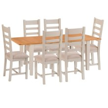 St. Ives Truffle Painted Oak 1.6m Ext. Table & 6 Fabric Seat Chairs