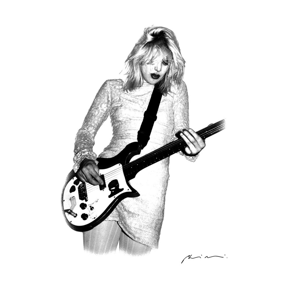 a1a67d153 ... Courtney Love Playing Guitar At Club Lingerie La White Men's Baseball  Long Sleeved T-Shirt ...